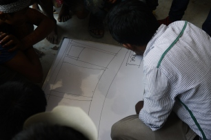 Hasib explaining the mapping process to the children