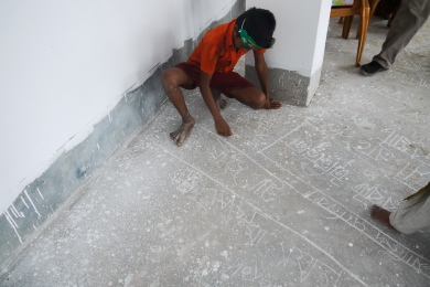 The children marking where they live, work and play